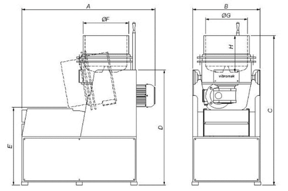 schéma de dimensions de la machine centrifuge fond tournant